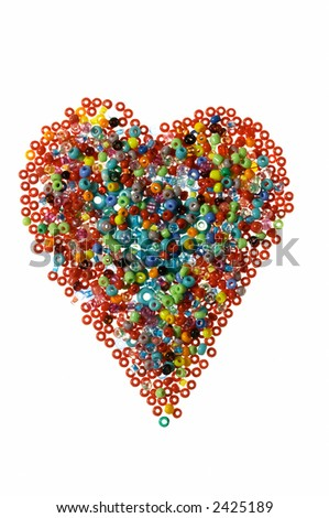 Heart made of beads, isolated on white