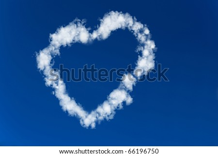 Heart made of clouds in a blue sky