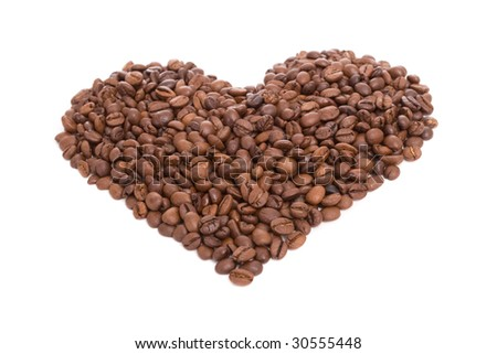 heart made of coffee beans, isolated over white