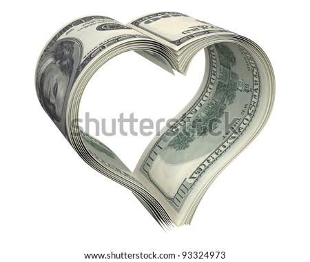 Heart made of few dollar papers, isolated on white background - stock photo