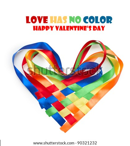 Heart made of intertwined colored ribbons. Symbol of love and Valentine's day - stock photo