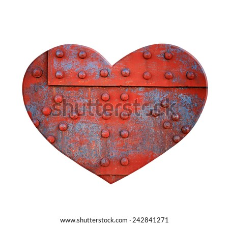 Heart made of metal with rivets - stock photo