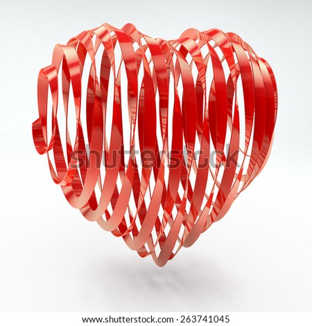 Heart made of red ribbons, 3d rendering on white background - stock photo