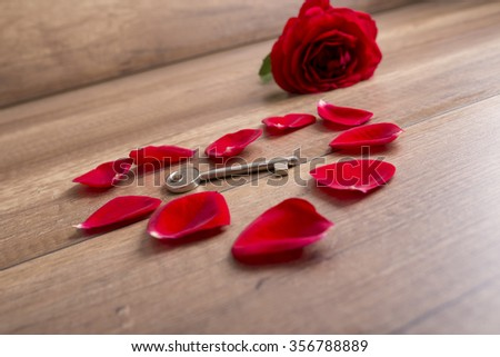 Heart made of red rose petals with a key lying in the middle and a beautiful blooming rose in the back all lying on a wooden surface. - stock photo