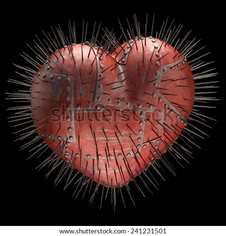 Heart made of steel plates with metal spikes. Clipping path included. - stock photo