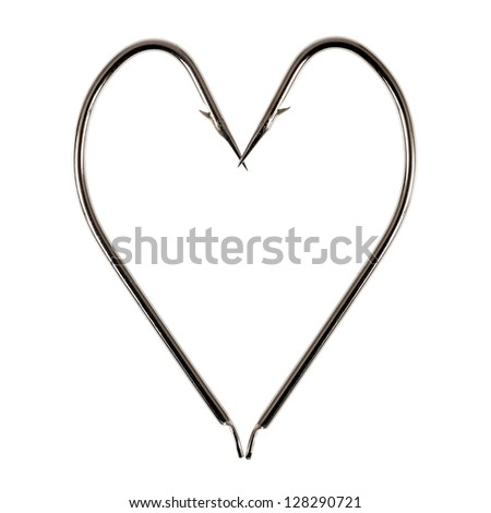 Heart Made of Two Fish Hooks - stock photo