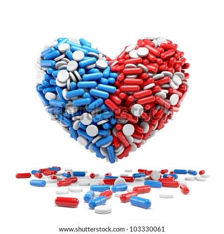 Heart - made up of pills and capsules. Medicines concept