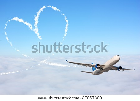 Heart made with an airplane - stock photo
