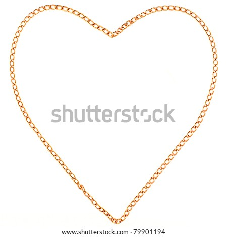 Heart made with gold chain isolated on white - stock photo