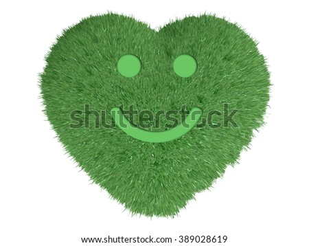 heart made with green grass and a smile over him, 3d illustration - stock photo