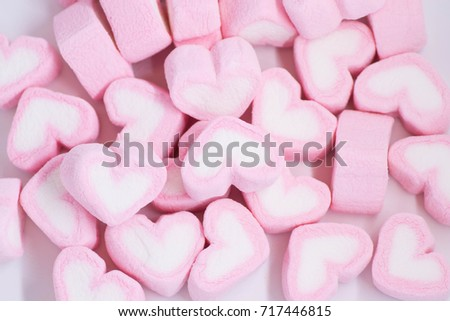Heart marshmallow background for valentine day or love concept.