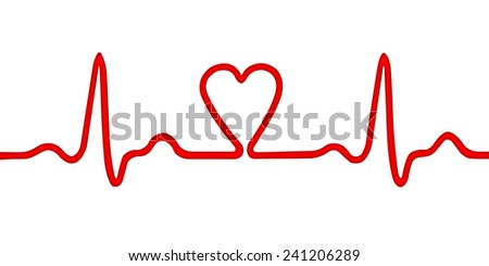 Heart monitor (Electrocardiogram or ECG) with a shape of heart - stock photo