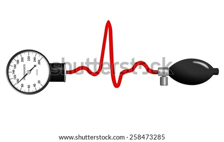 Heart monitor (Electrocardiogram or ECG) with a sphygmanometer - stock photo