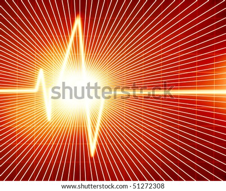 Heart monitor on a dark red background - stock photo