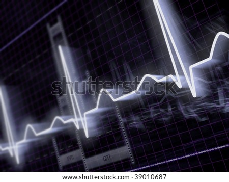 Heart monitor with electrocardiogram signal. - stock photo