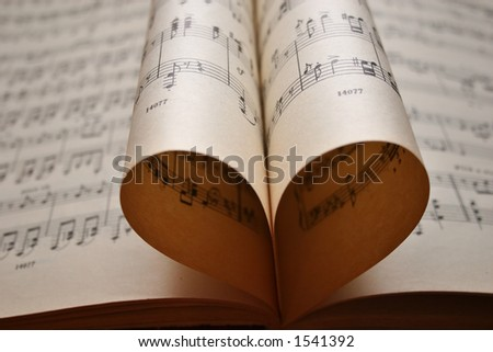 heart music notes - stock photo