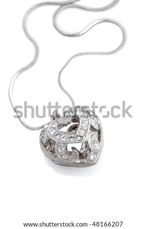 Heart necklace. Isolated on white background.
