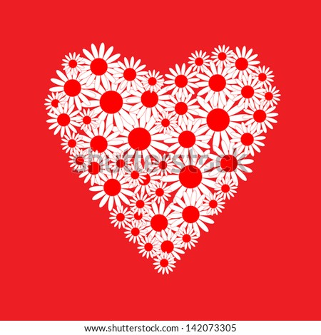 Heart of a white daisies - stock photo