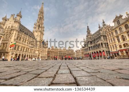 Heart of Brussels - The Grand Place (Grote Markt) and Town Hall - stock photo