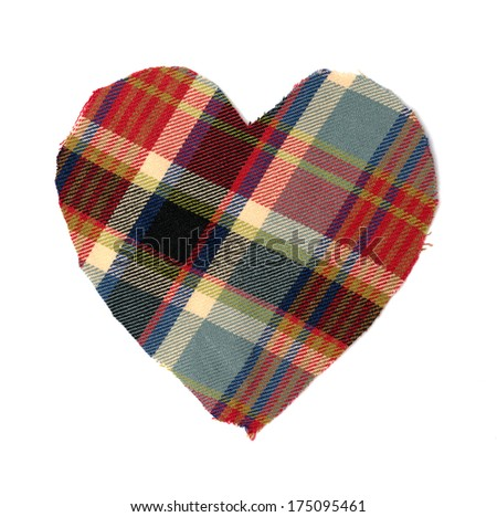 heart of checkered fabric isolated on white background - stock photo