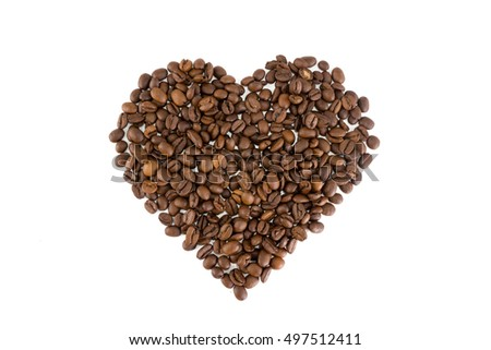 Heart of coffee beans isolated on white background. Love coffee concept