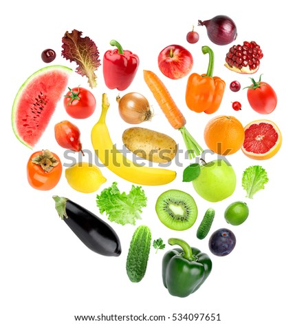Heart of color fruits and vegetables. Food concept. Fresh food