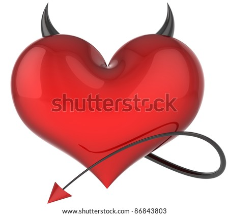 Heart of Devil love colored red with black sharp horns and a scorpion tail. Lover trap concept. Demon hell flirting abstract. Valentines day symbol. Detailed 3d render. Isolated on white background - stock photo