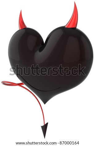 Heart of Devil Love shiny black with red sharp horns and a scorpion tail. Lover cheating concept. Demon feeling abstract. Valentines day trick symbol. Detailed 3d render. Isolated on white background - stock photo