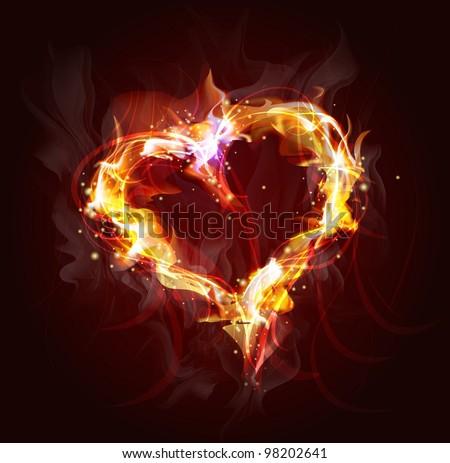 heart of fire background for design  (Vector Illustratio) - stock photo