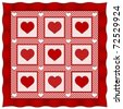 Heart of Hearts Quilt. Old fashioned friendship & love patchwork and applique design pattern in red & white gingham & polka dots, red satin border. - stock vector