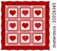 Heart of Hearts Quilt. Old fashioned traditional quilt pattern design in red & white checks, polka dots & big red hearts, red satin border. 