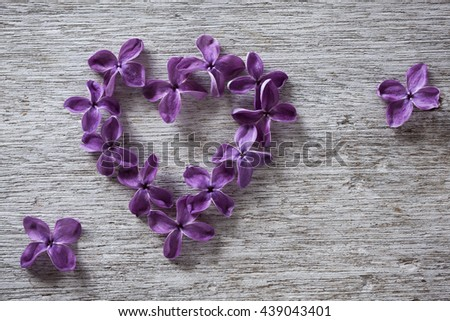 Heart of lilac flowers on worn gray wooden surface - stock photo