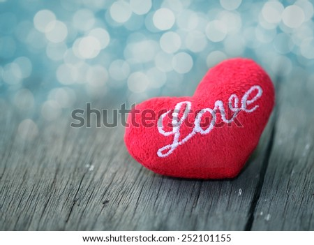 Heart of love in Valentine's day on wooden.  - stock photo
