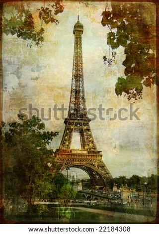 heart of Paris - vintage card - stock photo