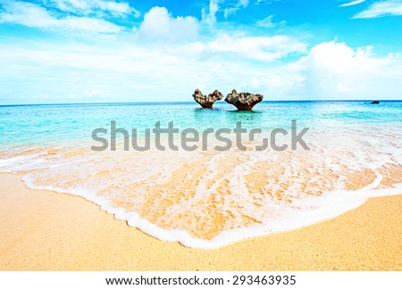 Heart of rock and beautiful beach, Okinawa, Japan - stock photo