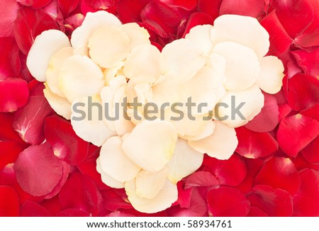heart of rose petals - stock photo