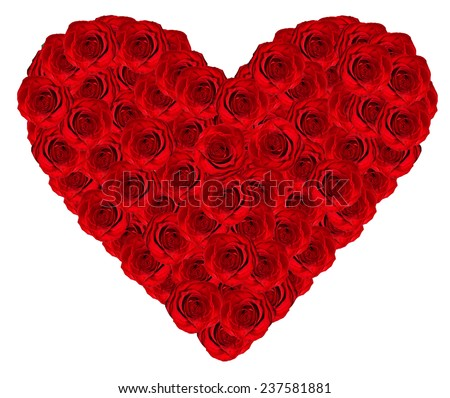 heart of roses isolated on white background - stock photo