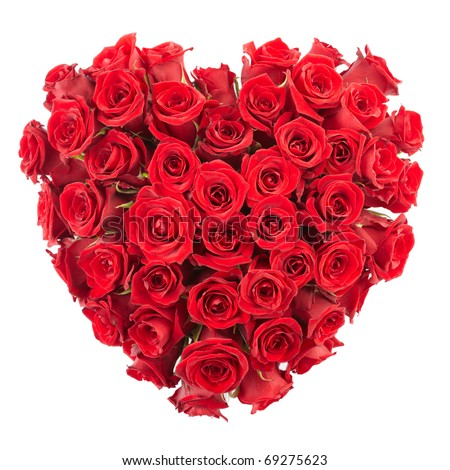 Heart of roses isolated on white background, clipping path included - stock photo