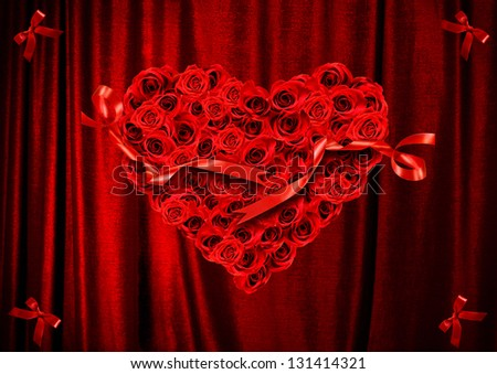 heart of roses on a background of red drapery