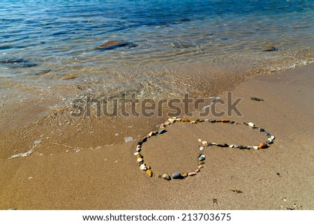 Heart of stones on the sand - stock photo