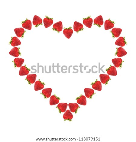 heart of strawberry on white background - stock photo