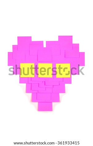 Heart of the colored papers on white background