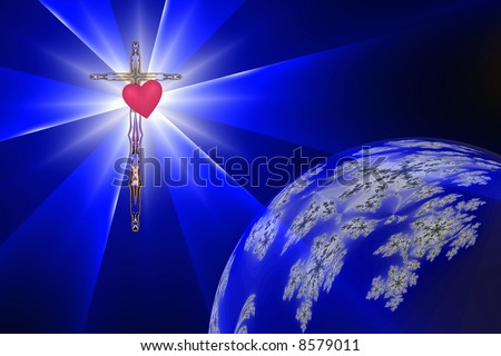 Heart of the Cross casts Divine Light into darkness and earth - stock photo
