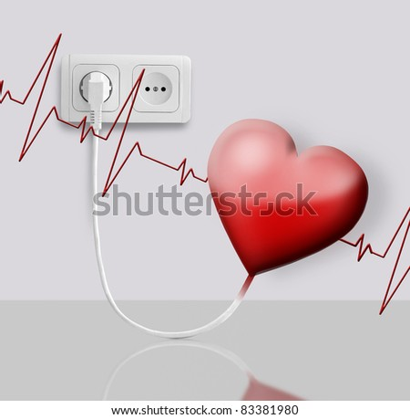 Heart of the electric-operated outlets - stock photo