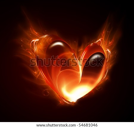 heart of the fire on a dark background - stock photo