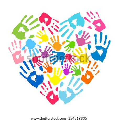 Heart of the handprints of father, mother and children - stock photo