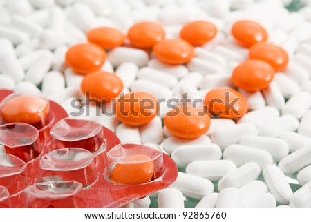 heart of the tablets against drugs - stock photo