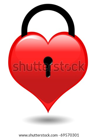 Heart on a lock isolated on white - stock photo