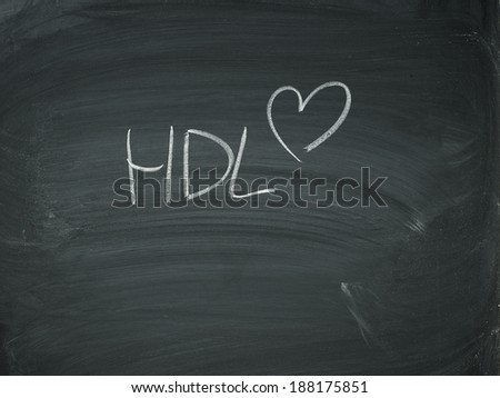 Heart on blackboard with HDL drawn black and white