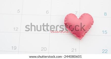 Heart on calendar, Valentine's day - stock photo